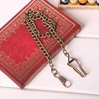 Retro Men Bronze Alloy Belt Holder Vintage Pocket Watch Fob Clasp Chain Antique