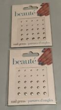 (2) New Beaute GiftCraft Nail Stone Silver Round Sticker Nail Art Gems 25 pcs.