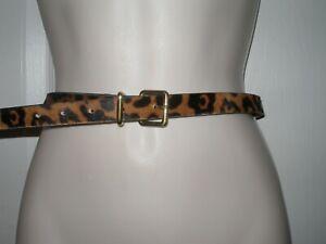 "J Crew Women's Size Small Thin Waist Belt Leopard Animal Hair 32"" to 36"""
