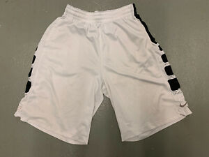 Nike Elite basketball Shorts White Black Athletic Men Large