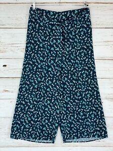 J. Jill Wide Wrap Leg Crop Pants Sz Medium Navy Blue Floral Palazzo Gaucho New