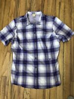 Duluth Trading Co. Womens Large Button Vented Short Sleeve Shirt Purple Plaid