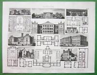 PUBLIC BUILDINGS in Germany Schools Prison Asylum - Original Print Engraving