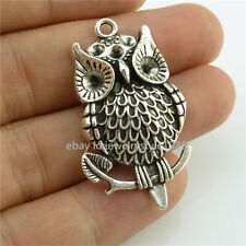 14458*10PC Antique Silver Animals Owl Pendant Charm Fit 3mm 4mm Rhinestone Alloy