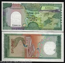 SRI LANKA 1000 RUPEES P101 1990 PEACOCK UNC DAM LARGE CURRENCY CEYLON MONEY NOTE