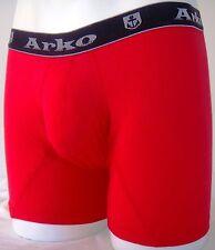 MENS BOYS FUN DESIGNER UNDERWEAR RED BOXER LONG NO FLY 2R1 SMALL A1
