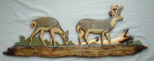 Wood Carving Whitetail Deer Cabin Decor Wall Art chainsaw Carved cub doe