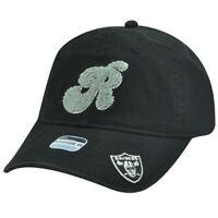 NFL Oakland Raiders Black White Gray Women Ladies Chenille Hat Cap Garment Wash