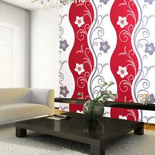 EXCLUSIVE ARTHOUSE RHYTHM FLORAL PATTERN FLOWER MOTIF METALLIC WALLPAPER RED