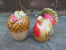 Ceramic Turkey Acorn Salt Pepper Shakers New Country Home Vintage Style Feast
