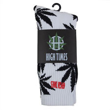 HUF x High Times Plantlife Weed Leaf Marijuana Crew Sock Ribbed Sox Mens White