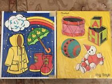 (2) Vintage Fisher Price Wooden Puzzle 100% Complete My Toys Stormy Weather Nice