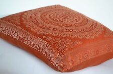 Orange Rust Mandala Cushion Covers Antique Style Banarasi Indian 38cm