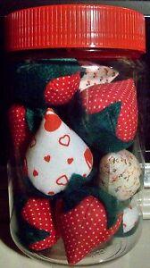 Vintage Stuffed Strawberries Display Jar-OOK Handmade Strawberries