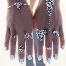 Lovely Women Gypsy Boho Bracelets Vintage Silver Elephant Cuff Bangles Jewelry