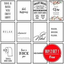 More details for framed bathroom art toilet prints bathroom pictures funny quotes puns wall art