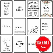 Framed Bathroom Art Toilet Prints Bathroom Pictures Funny Quotes Puns Wall Art