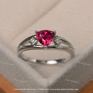 2Ct Trillion Cut Red Ruby Three Stone Engagement Ring In 14K White Gold Finish