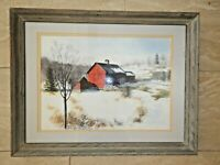 Original framed watercolor painting Barn Snow Landscape Connecticut signed