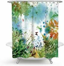Watercolor Colorful Floral Dragonfly Farmhouse Waterproof Fabric Shower Curtain