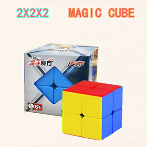 2X2 No Sticker Magic Cube Rubix Rubik Puzzle Super Smooth Fast Speed Toy Gifts