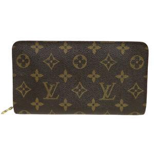LOUIS VUITTON Zip Long Bifold Wallet Purse Monogram Leather Brown M61727 67BU132