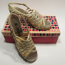 Vtg Gold Disco Shoes High Heel Sandals Womens 8 N Connie ca 1975
