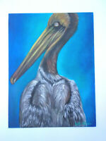 Original Acrylic Painting12 x16 Pelican  Bird  Canvas Panel, Beach, Coastal Art
