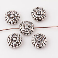 30Pcs Tibetan Silver Flower Shape Loose Spacer Charms Bead 8*3mm
