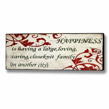 HAPPINESS family,red, picture distressed shabby chic wooden plaque comedy humour