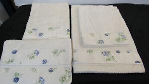 $1025 DEA Italy beautiful bath towels set(5) – white & blue 100% Egyptian cotton