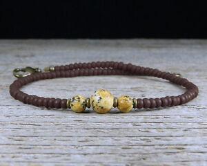 Thin Jasper Stone Ankle Bracelet, Matte Brown Glass Beads, Unisex or Mens Anklet