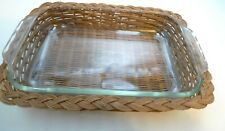"VTG Pyrex Clear 2 Qt Baking Rectangular Dish AS IS Serving Basket 232R 11 x 7"""