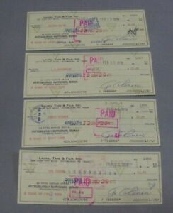 Steel Curtain, Pgh Steelers, Canceled & Signed Checks by ALL FOUR (4) MEMBERS