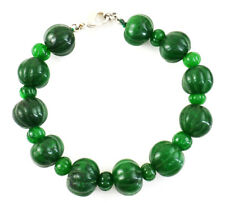 255.00 Cts Earth Mined Green Emerald Round Shape Carved Beads Handmade Bracelet