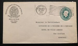 1936 Montreal Canada Health Department Official Cover Domestic Used