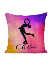 Personalized Mermaid Sequin Flip Pillow - Skating - Rainbow Watercolors