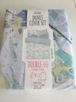 Primark Marble Print Double Duvet Cover Bedding Set Quilt Yellow Blue White