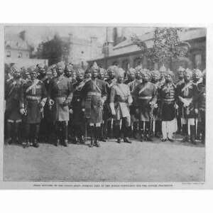 Queen Victoria Diamond Jubilee, Staff Officers of Indian Army Antique Print 1897