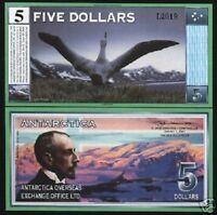 ANTARCTICA 5 DOLLARS 2001 AMUNDSEN ALBATROSS UNC BILL FUN CURRENCY MONEY NOTE
