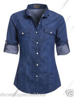NEW Womens Denim Shirt Ladies Classic Fitted Shirts Size 6 8 10 12 14 Blue jean