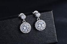 925 Sterling Silver Round Drop Dangle Stone Stud Earrings Womens Jewellery Gift