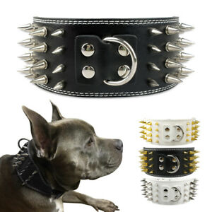 Spiked Studded Pet Dog Wide Collars Soft Leather for Medium Large Dogs Bulldog