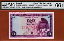 Brunei 10 Ringgit 1967 Purple COLOR Trial Specimen Pick-3ct Gem UNC PMG 66 EPQ