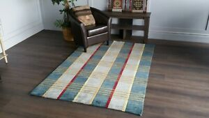 """Area Rugs Carpet Sale New, Hand made 5' X 7'.6"""" Blue"""