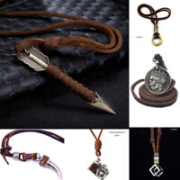 Men Charm Vintage Silver Skull pendant Alloy leather necklace Chain Jewelry Gift