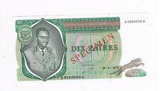 ZAIRE P24 SPECIMEN 1X10 ZARES 1979 AUNC  GD MUNICH