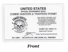 W@W Zombie Hunters & Trappers Permit; Hunting Permit; Carry Card; Laminated L@@K