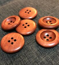 10 X 24mm Reddish Brown Wooden Buttons - Australian Suppler