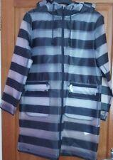 ZARA STRIPED RUBBERISED PARKA  Rain Jacket Hooded Coat Mac BNWT SIZES XS-S
